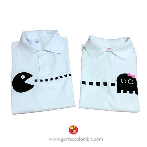 camisetas polo blancas para pareja pacman