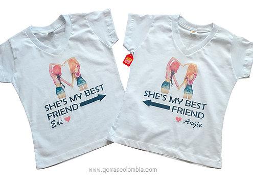 camisetas blancas para amigas best friend con nombres
