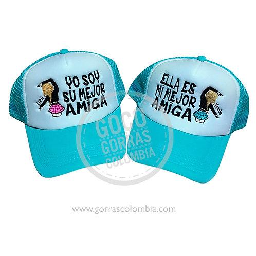 gorras azules frente blanco para amigas mejor amiga