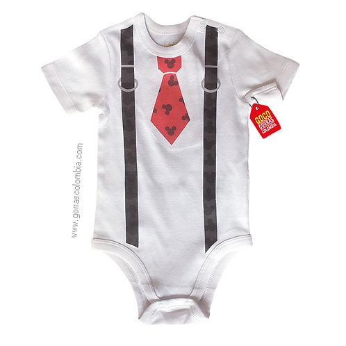 body blanco para bebe de mickey con corbata
