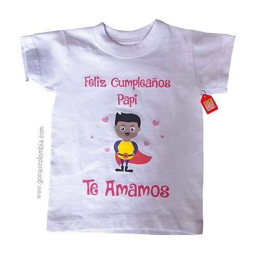 camiseta blanca para niña feliz cumpleaños papi