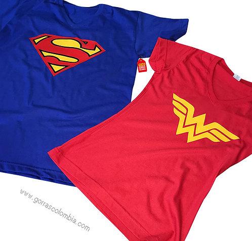 camisetas azul y roja para pareja de superman y mujer maravilla