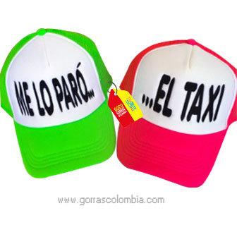 gorras verde y fucsia frente blanco para pareja el taxi
