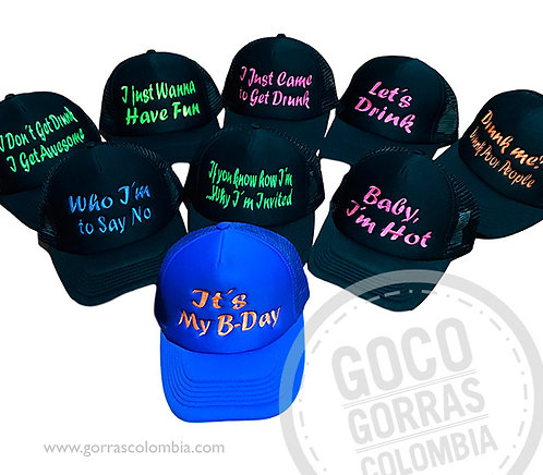 gorras varias unicolor para fiesta my bday frases