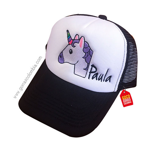 gorra negra frente blanco personalizada emoji unicornio