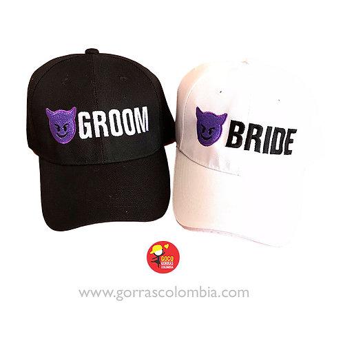 gorras negra y blanca unicolor para pareja groom and bride