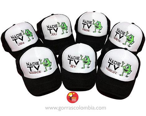 gorras negras frente blanco para fiesta monster inc