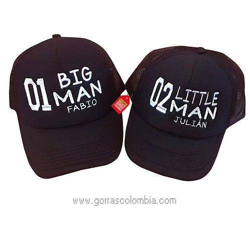 gorras negras unicolor para familia big y little man