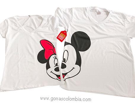 camisetas blancas para pareja mickey y minnie