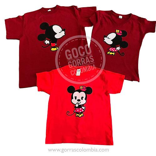 camisetas vinotinto y roja para familia mickey