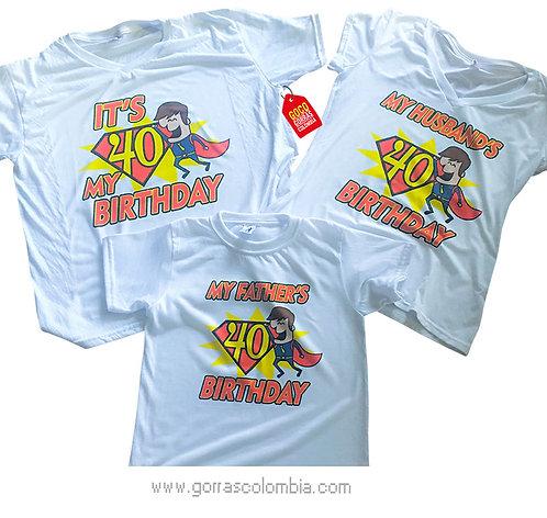 camisetas blancas para familia cumpleaños de super papá