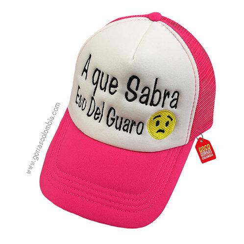 gorra fucsia frente blanco personalizada guaro emoji