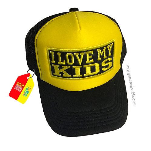 gorra negra frente amarillo personalizada i love my kids