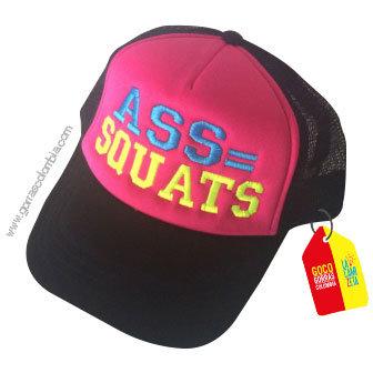 gorra negra frente fucsia personalizada ass squats