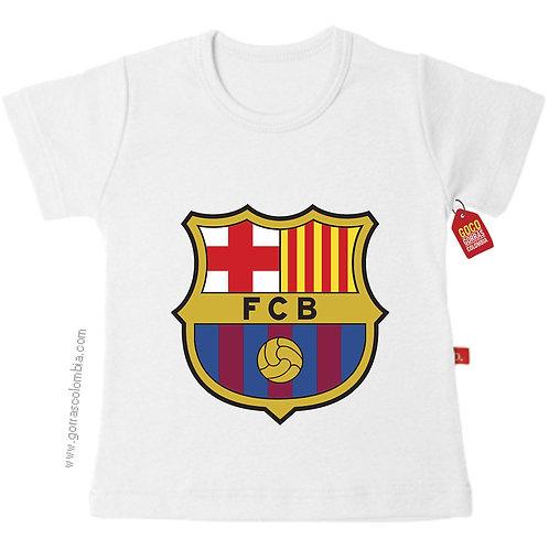 camiseta blanca para niño de barcelona