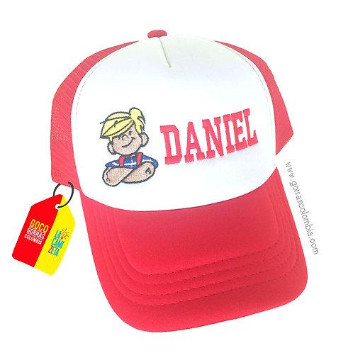 gorra roja frente blanco para niño daniel el travieso