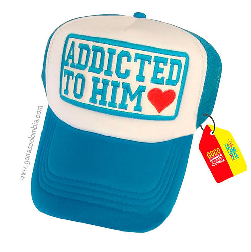 gorra azul frente blanco personalizada addicted to him