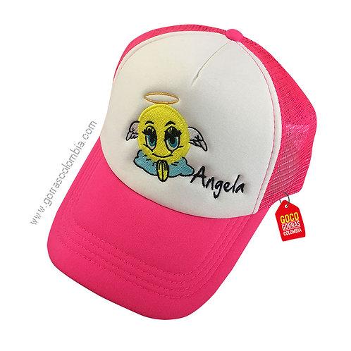 gorra fucsia frente blanco personalizada angel emoji