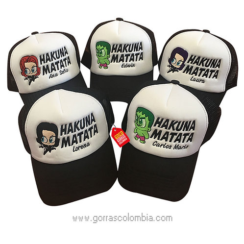gorras negras frente blanco para fiesta hakuna matata