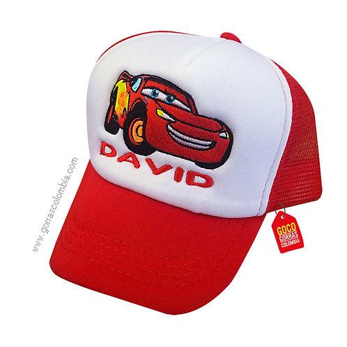 gorra roja frente blanco para niño de rayo mcqueen