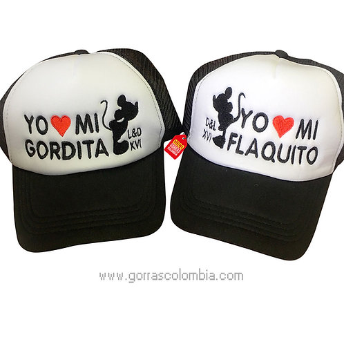 gorras negras frente blanco para pareja gordita y flaquito mickey