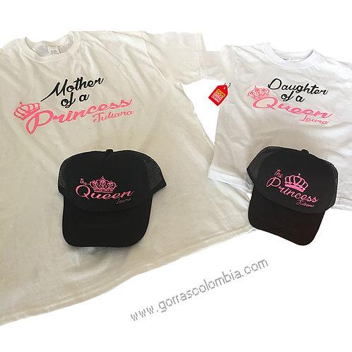 camisetas y gorras para familia queen y princess