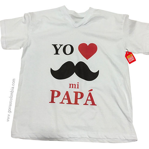 camiseta blanca para niño yo amo a mi papa