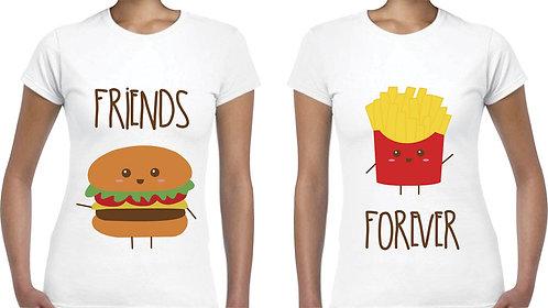 camisetas blancas para amigas friends forever papas y hamburguesa