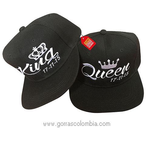 gorras negras unicolor para pareja king y queen fecha