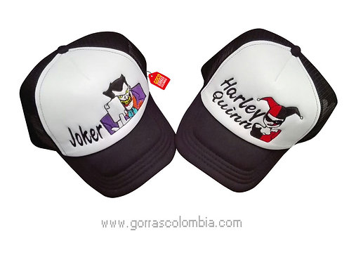 gorras negras frente blanco para pareja joker y harley quinn