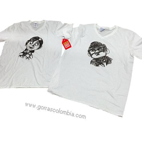 camisetas blancas para pareja de carl y ellie