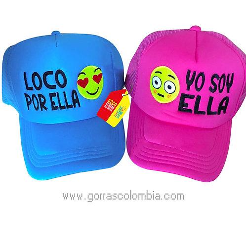 gorras azul y fucsia unicolor para pareja loco por ella emojic