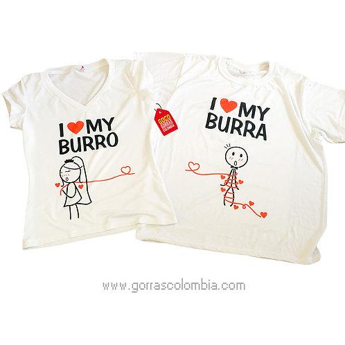 camisetas blancas para pareja burro y burra