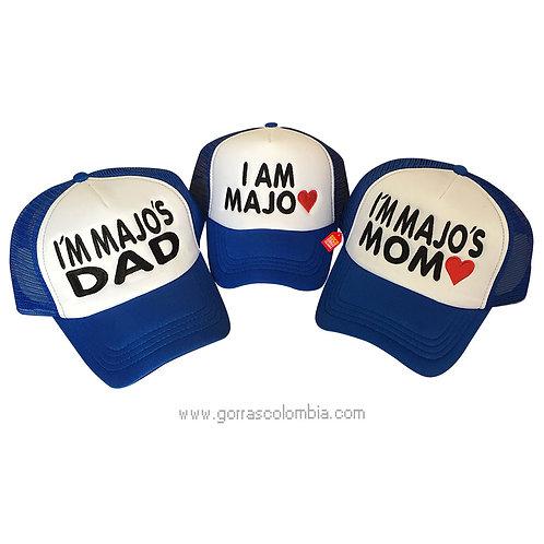 gorras azules frente blanco para familia dad y mom