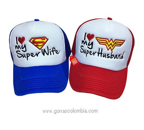 gorras azul y roja frente blanco para pareja super wife y super husband