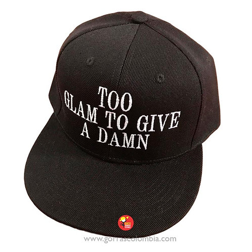 gorra negra unicolor personalizada too glam to give a damn
