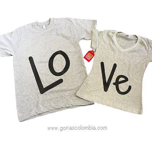 camisetas grises para pareja love