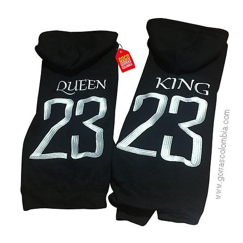 busos negros con capota para pareja king y queen numero