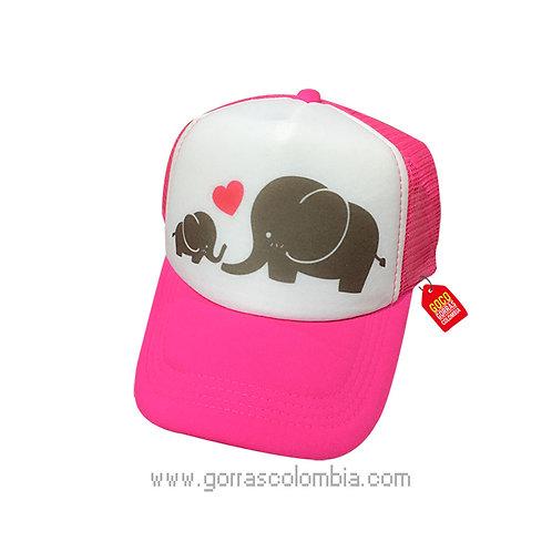gorra fucsia frente blanco para familia elefantes