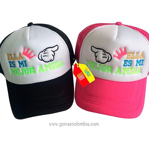 gorras negra y fucsia frente blanco para amigas mejor amiga