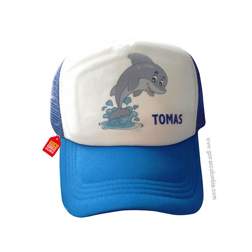 gorra azul frente blanco para niño delfin