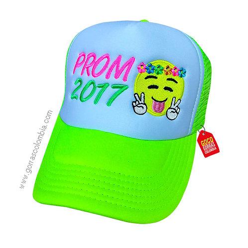 gorra verde neon frente blanco personalizada prom emoji