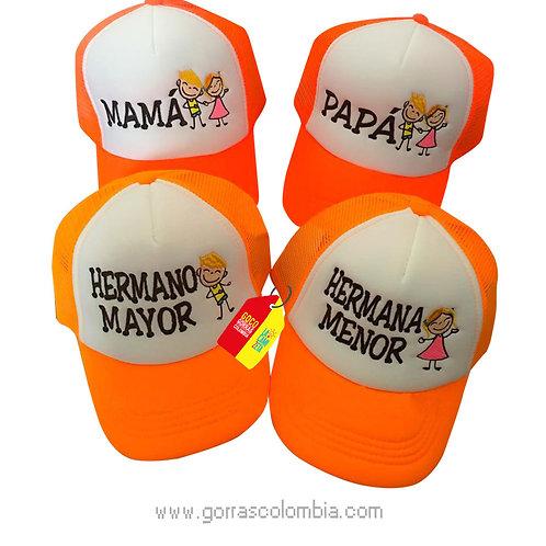 gorras naranja frente blanco para familia papas e hijos