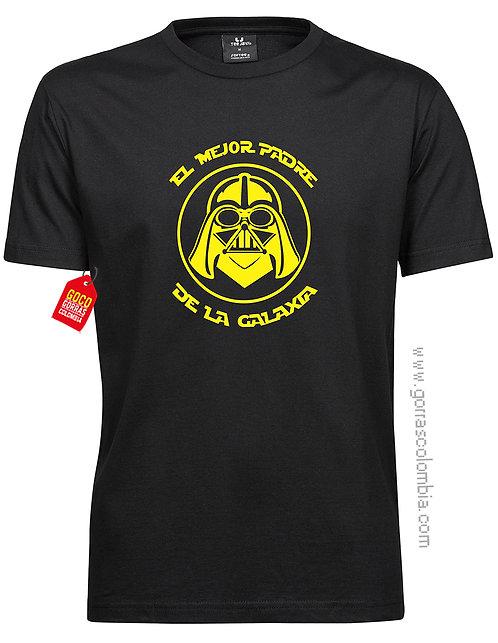 camiseta negra para familia el mejor padre de la galaxia