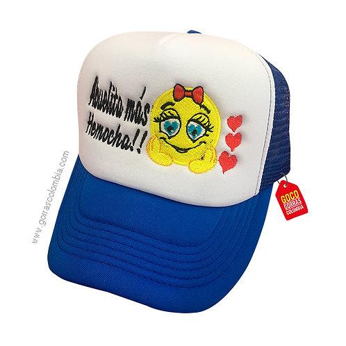 gorra azul frente blanco personalizada emoji con corazones