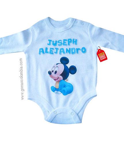 body blanco para bebe de mickey baby