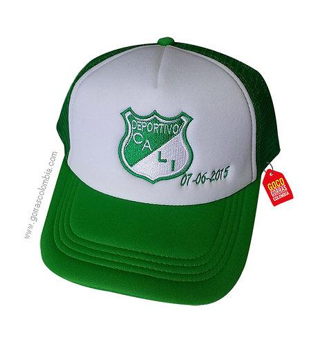 gorra verde frente blanco personalizada deportivo cali