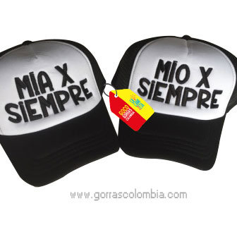 gorras negras frente blanco para pareja mia y mio