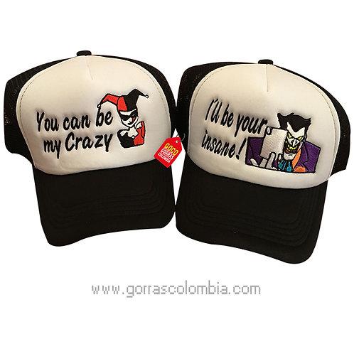 gorras negras frente blanco para pareja guason y harley quinn