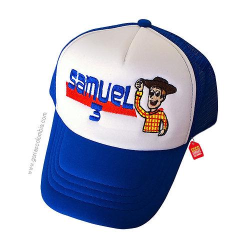 gorra azul frente blanco para niño woody